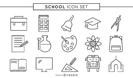 Coleção de ícone de linha de escola