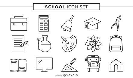 Colección de iconos de línea escolar