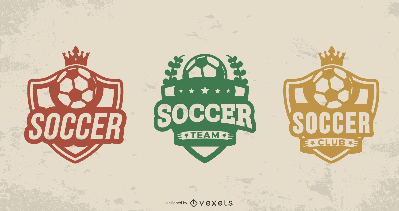 Conjunto de insignias de pelota de fútbol