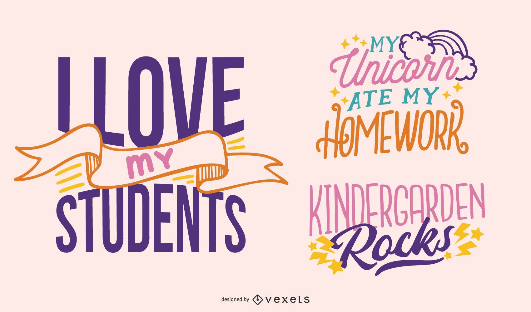 Cute teacher lettering set