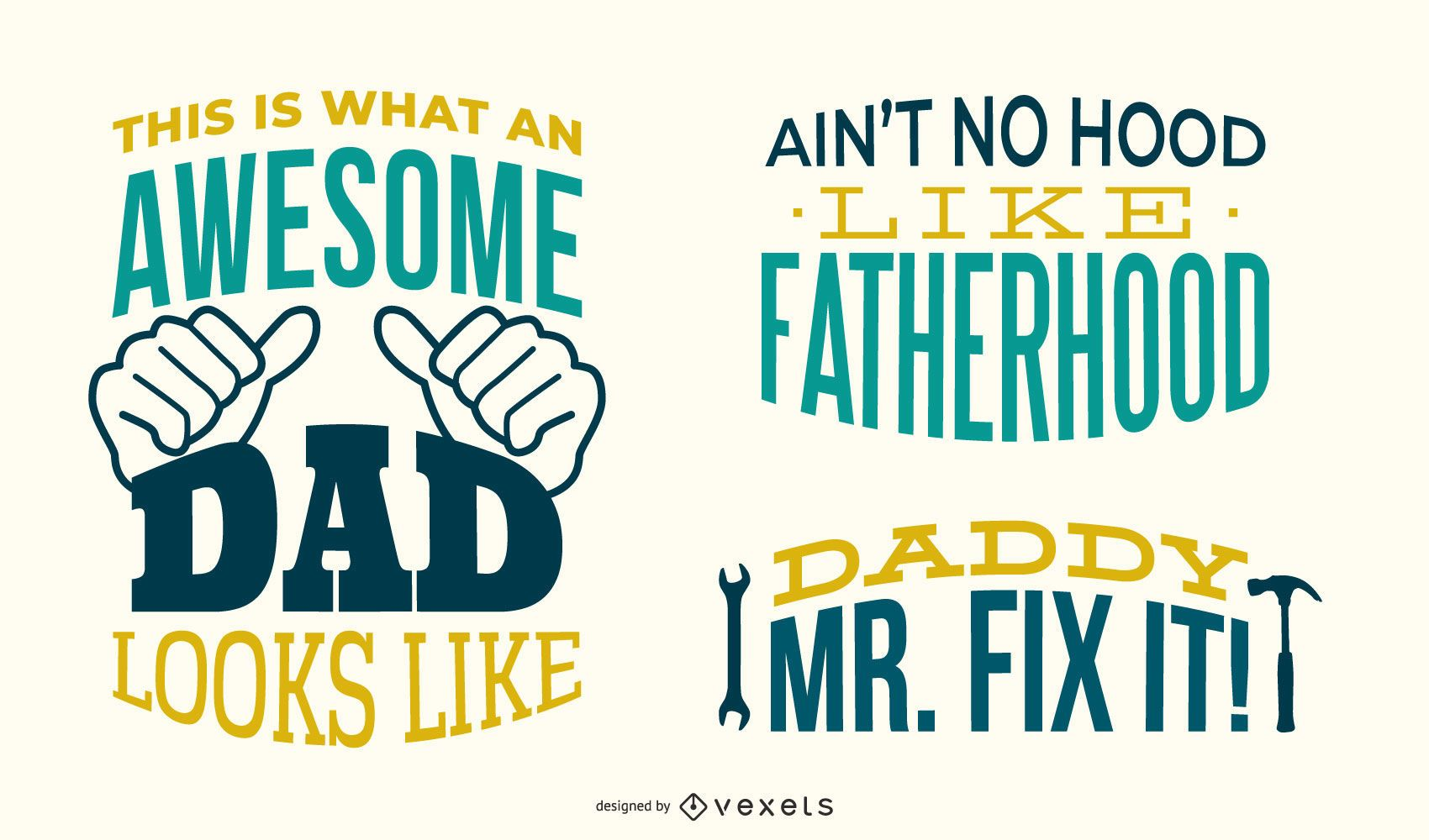 Cool dad lettering set