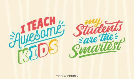 Awesome kids teacher conjunto de letras