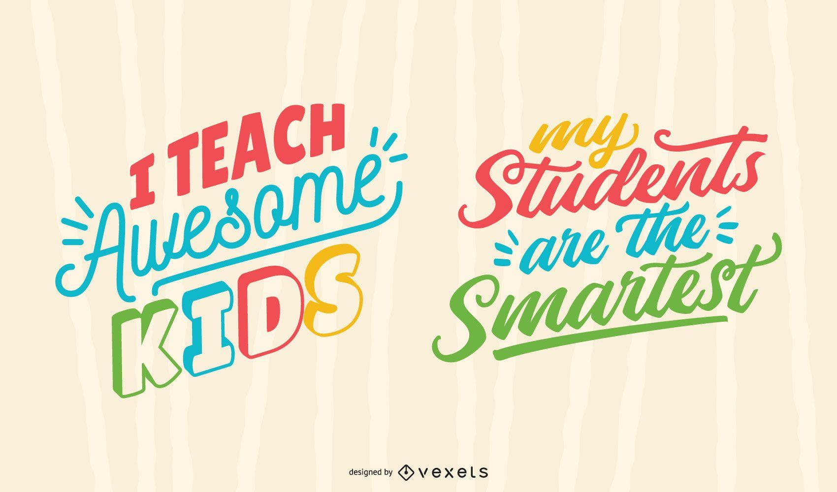 Awesome kids teacher lettering set