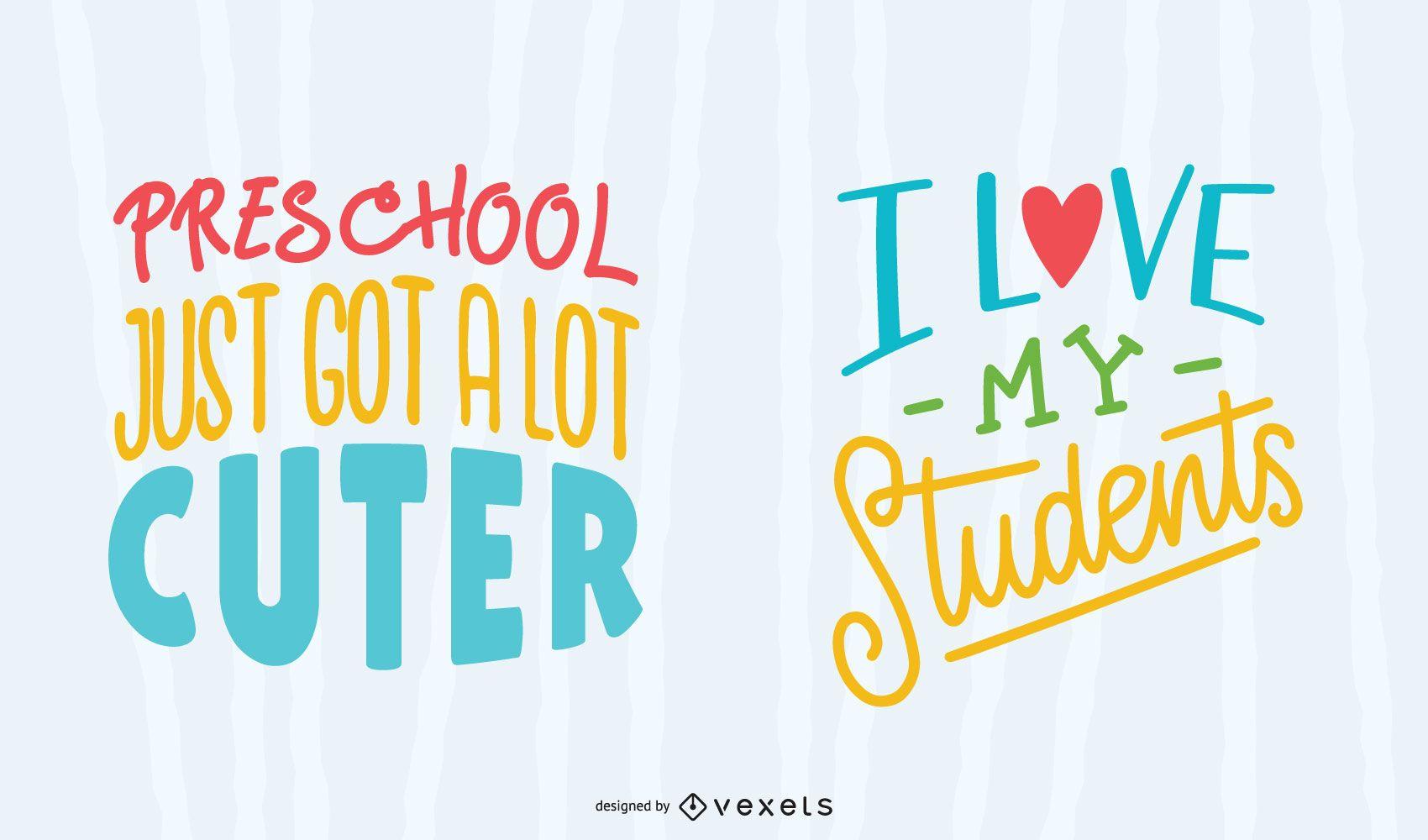 School teacher colorful lettering set