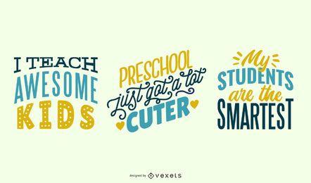 Conjunto de letras de professor pré-escolar