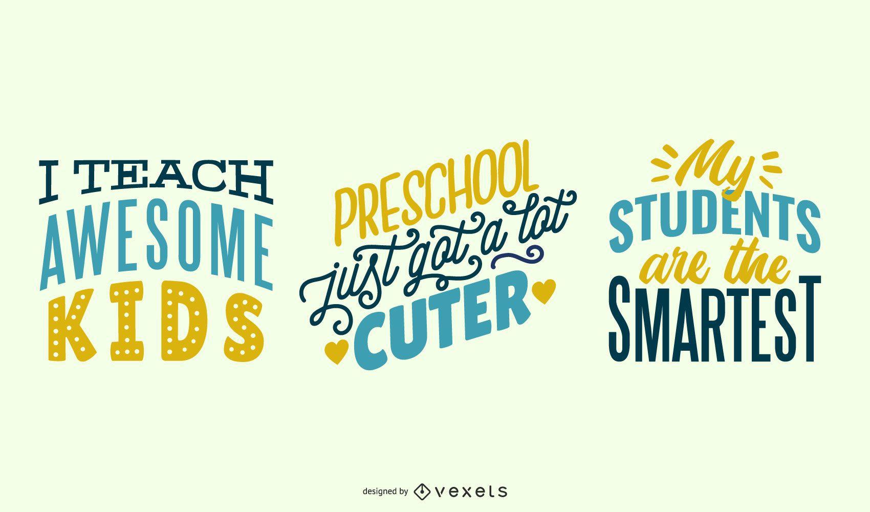 Conjunto de letras para professores de pré-escola