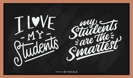 Conjunto de letras de tiza de estudiantes