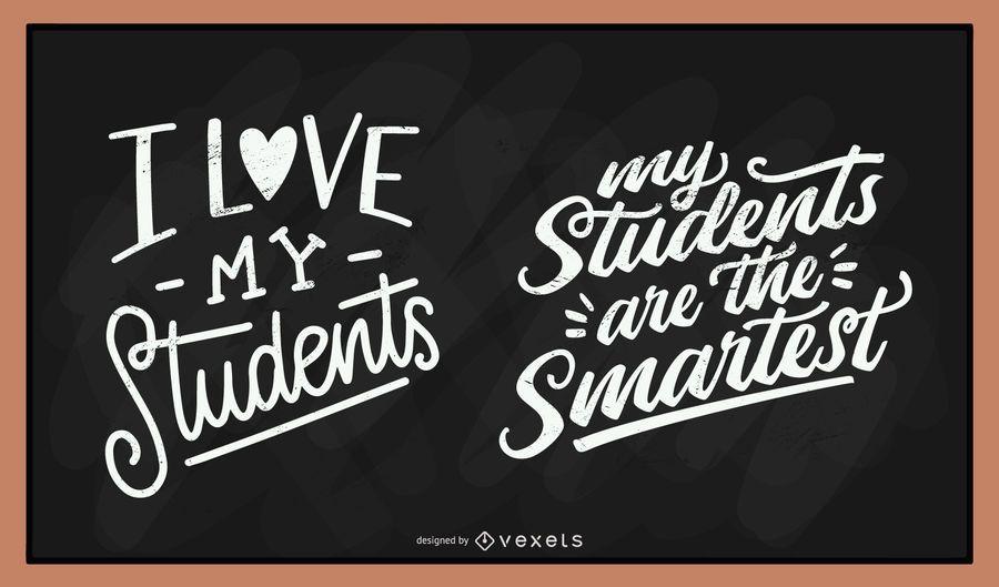 Conjunto de letras de giz de estudantes