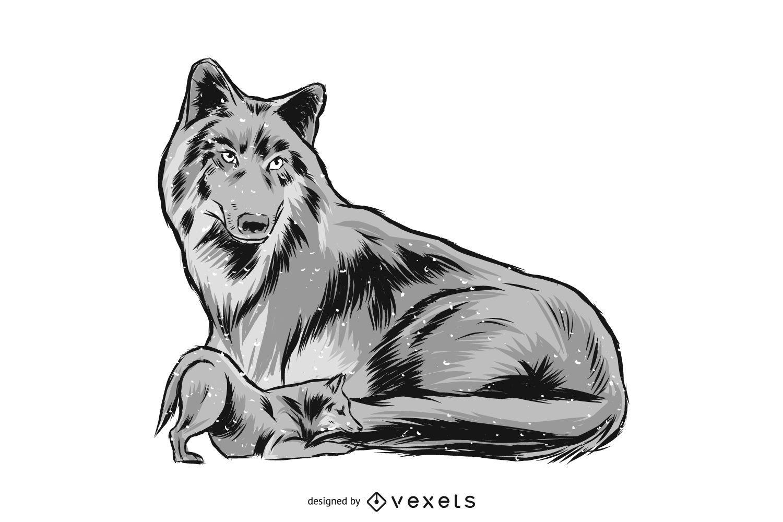 Ilustración de mamá y bebé lobo