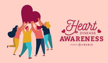 Diseño de carteles de conciencia de enfermedades del corazón