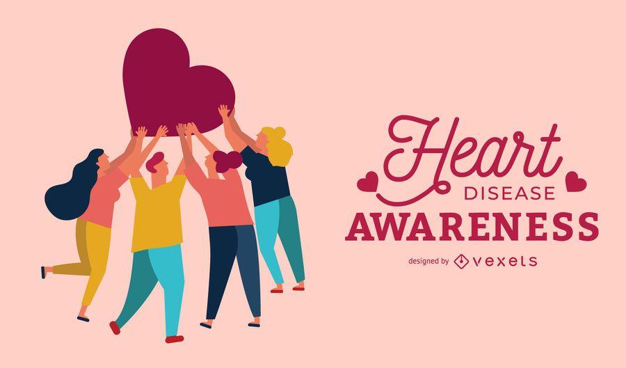 Design de cartaz de conscientização de doença cardíaca