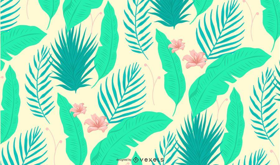 Patrón de hojas y flores tropicales