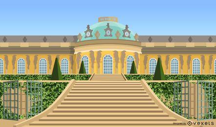 Diseño del vector del palacio de Sanssouci