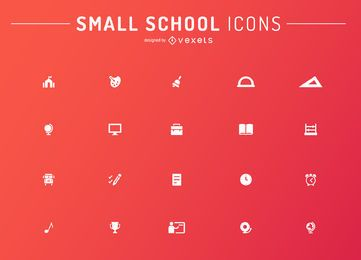 Minimalist school icons set