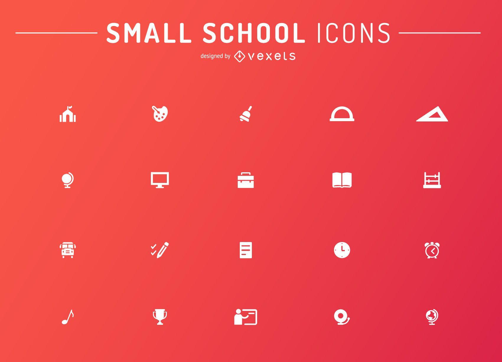 Minimalist school icons set