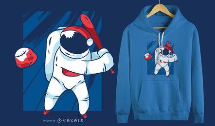 Projeto do t-shirt do basebol do astronauta