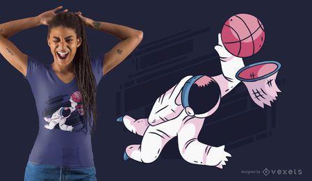 Design de t-shirt de basquetebol de astronauta