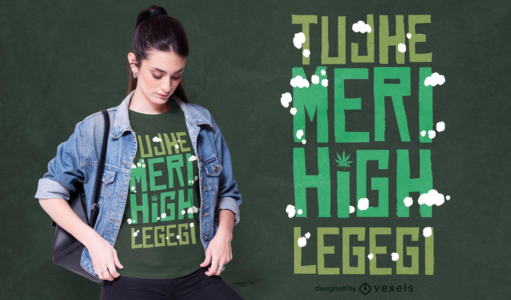 Diseño de camiseta con letras altas