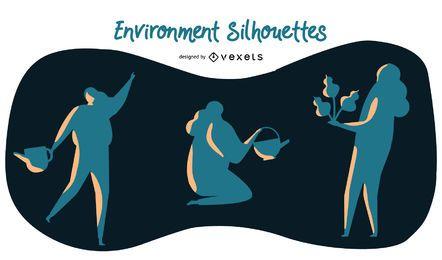 Conjunto de siluetas de medio ambiente