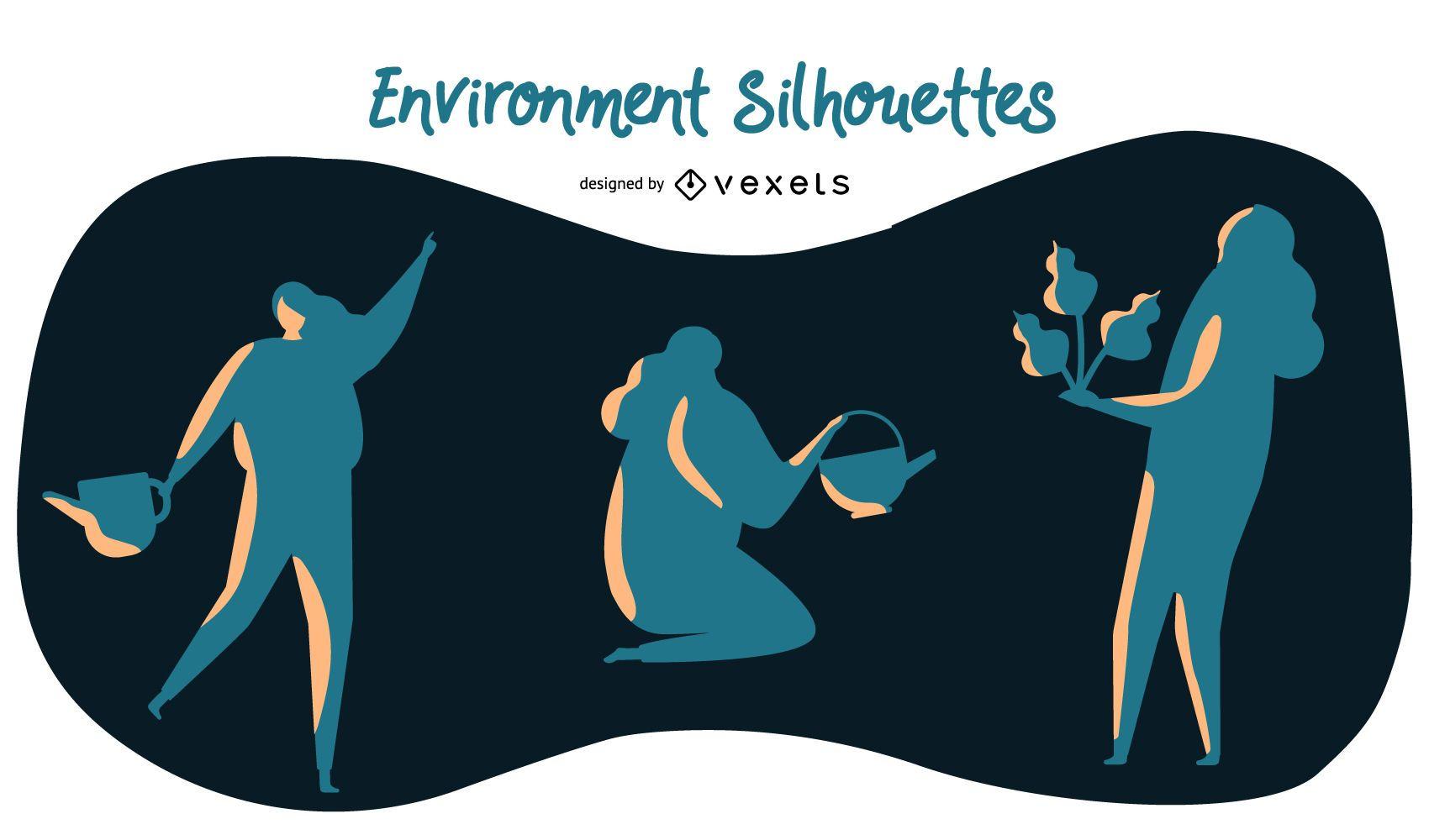 Environment silhouettes set