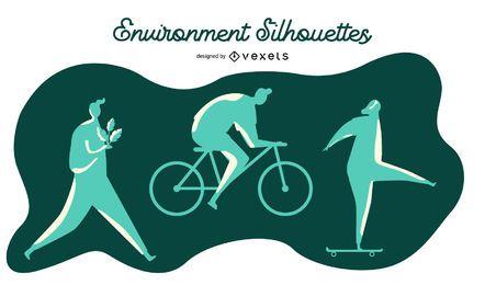 Conjunto de silueta de personas de medio ambiente