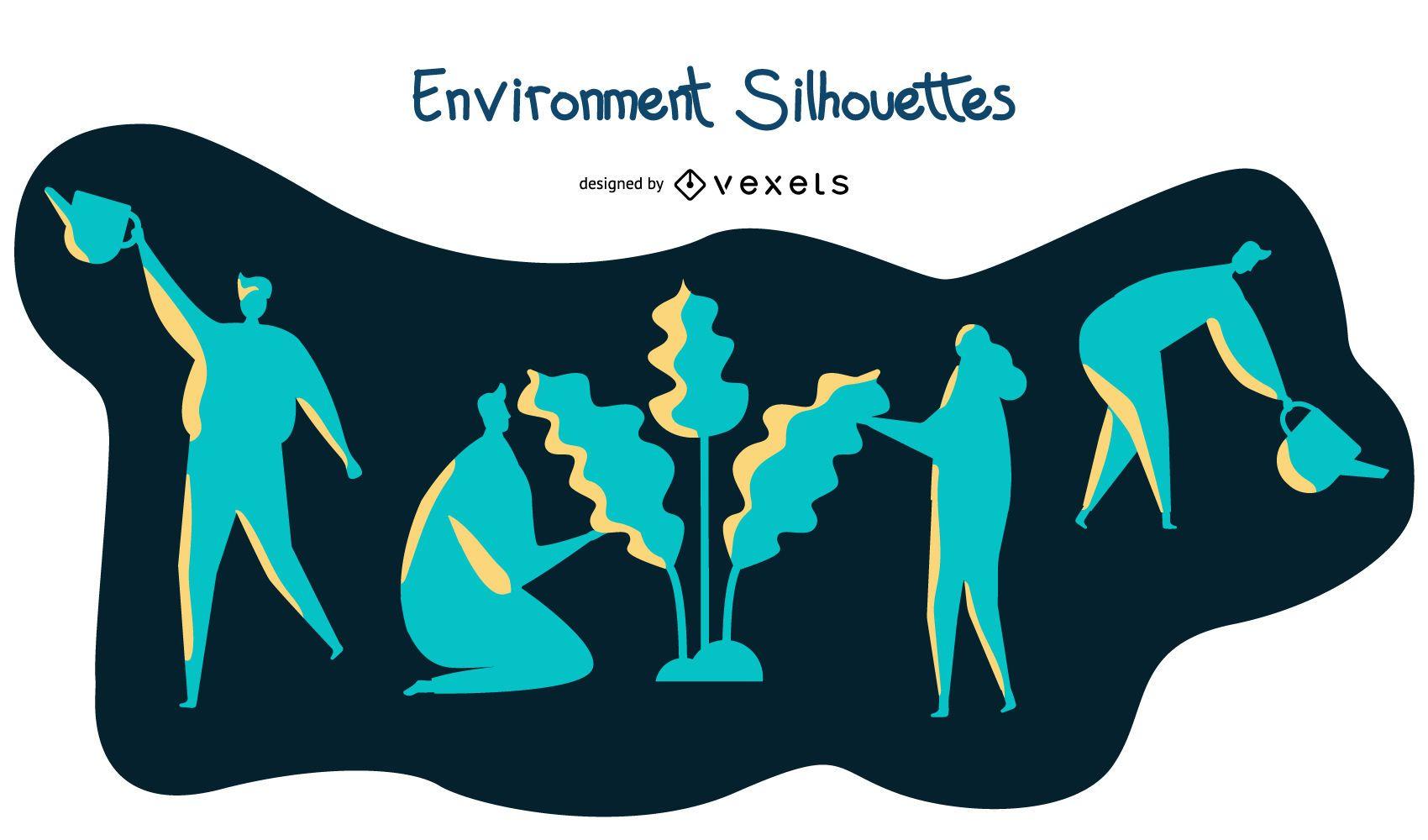 Conjunto de silueta de plantación de medio ambiente