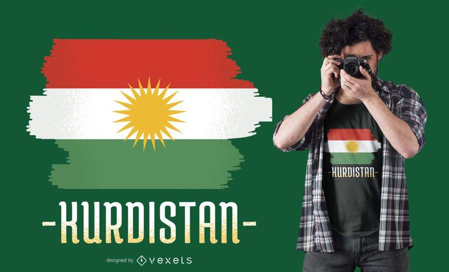 Diseño de camiseta de bandera de Kurdistán