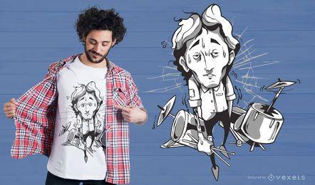 Schlagzeuger Illustration T-Shirt Design