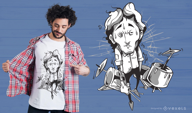 Drummer Illustration T-shirt Design