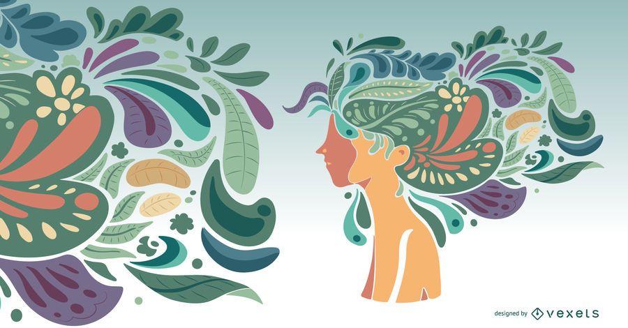 Penteado artístico natureza garota ilustração