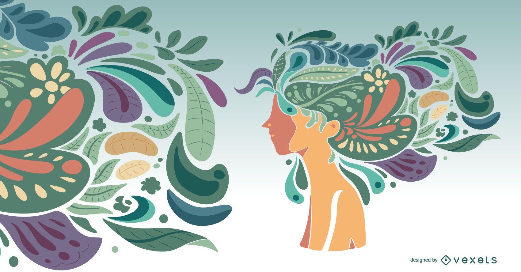 Ilustración de niña de naturaleza de peinado artístico