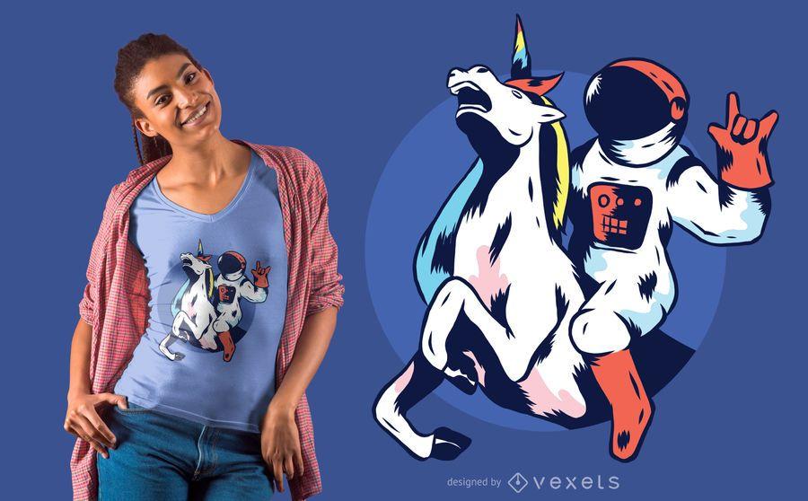 Diseño de camiseta astronauta Unicornio