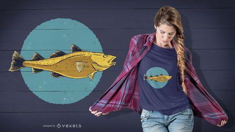 Design dourado do t-shirt dos peixes