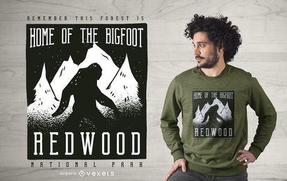 Projeto do t-shirt do parque da sequóia