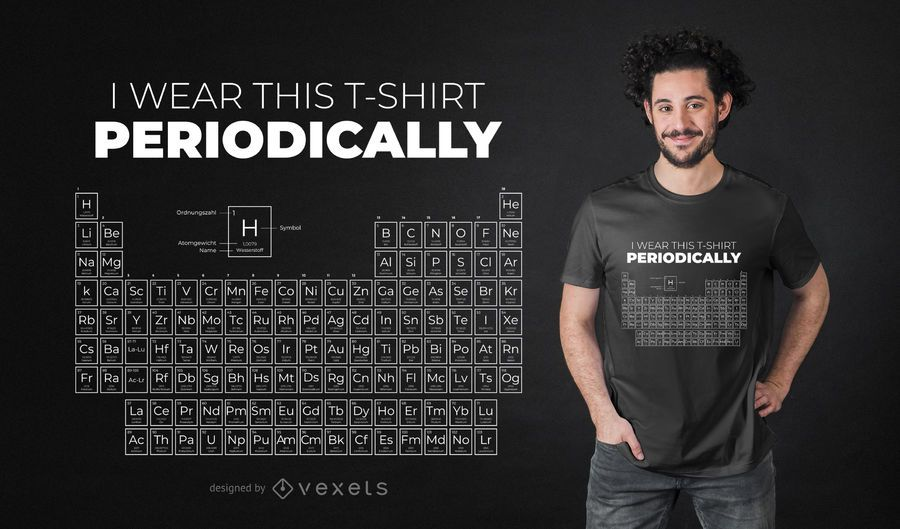 Diseño de camiseta de mesa periódica