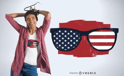 Projeto de t-shirt de óculos de sol dos EUA