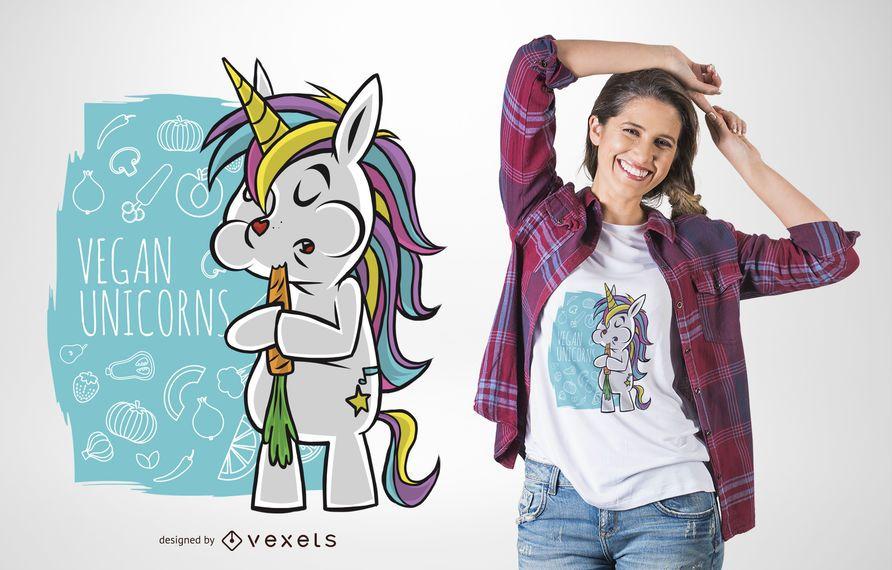Diseño de camiseta unicornio vegano