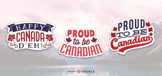 Orgulhoso conjunto de etiqueta canadense