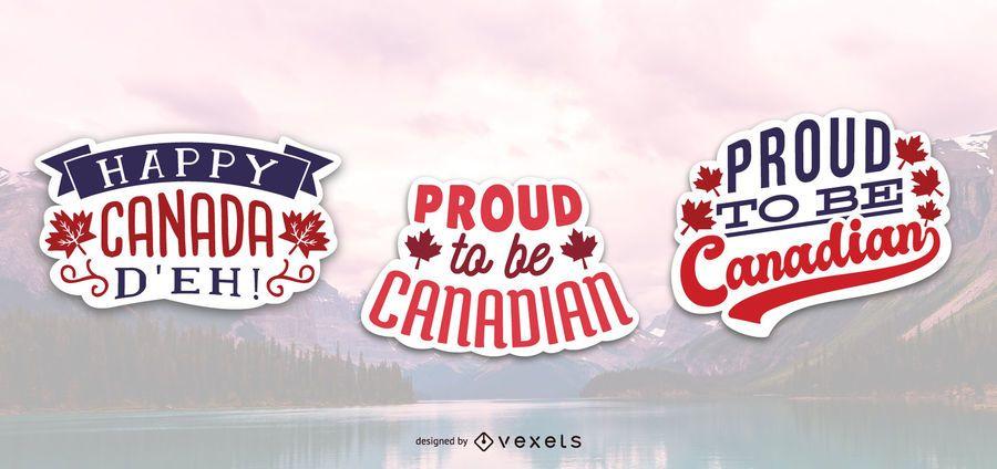 Orgulloso set de pegatinas canadienses