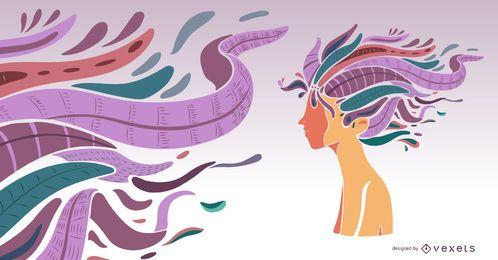 Ilustración abstracta de arte de cabello de naturaleza