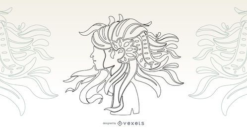 Artistic Hair Girl Stroke Vector Design