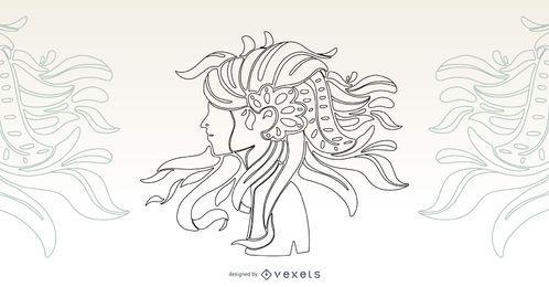 Projeto artístico do vetor do curso da menina do cabelo