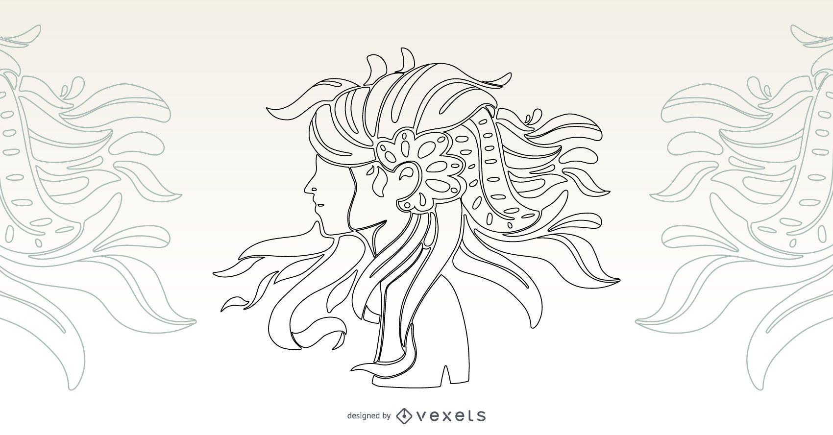 Diseño artístico del vector del movimiento de la muchacha del pelo