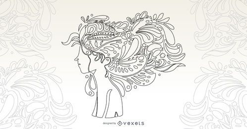 Girl Flower Hair Vector Design