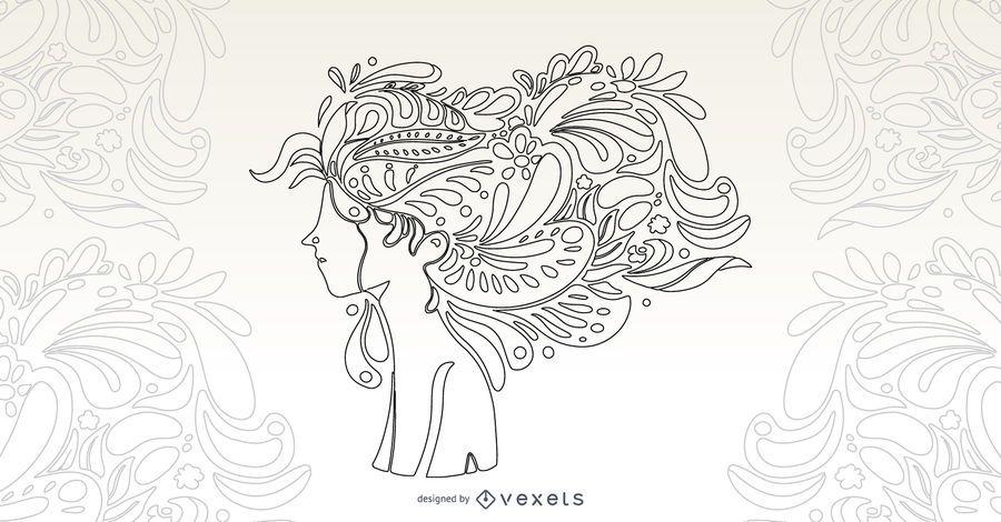 Desenho de vetor de cabelo de menina flor