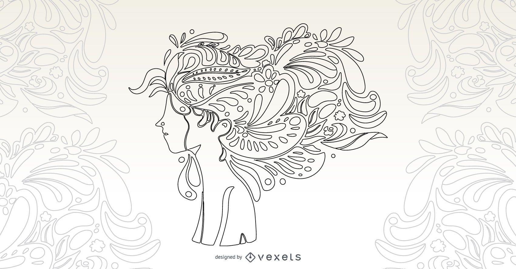 Desenho vetorial de cabelo com flor de menina