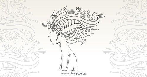 Ilustración de vector de niño de naturaleza