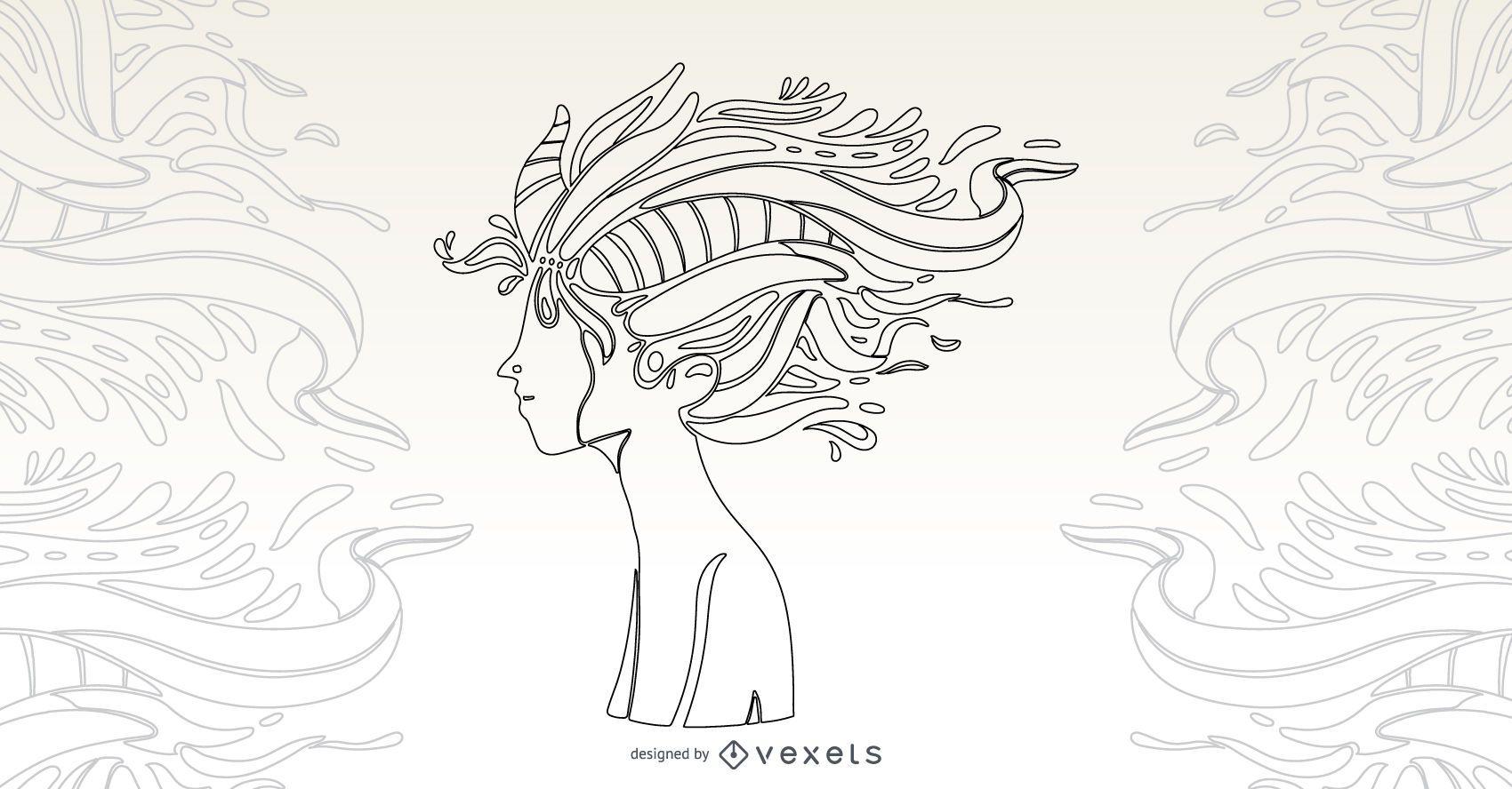 Naturaleza niño ilustración vectorial
