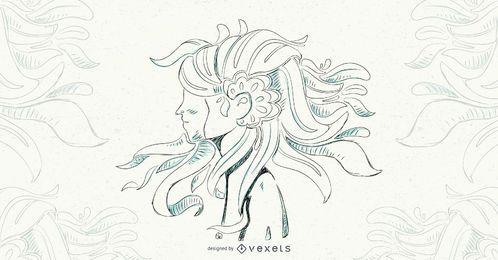 Ilustração em vetor menina cabelo floral
