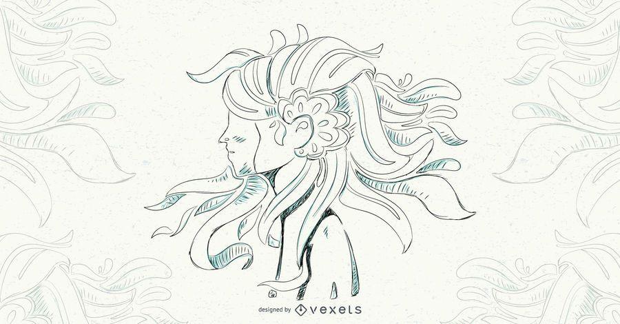 Ilustración de vector de cabello floral niña
